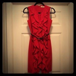 Calvin Klein red ruffle front dress